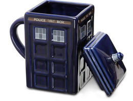 Wholesale police cup - Doctor Who Tardis Creative Police Box Mug Funny Ceramic Coffee Tea Cup 500 ML Ceramic water cup For kids student Gift KKA1869
