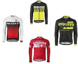 Wholesale France Cream - Long Sleeve SCOTT cycling jersey Tour de France Spring and Autumn Bisiklet wear bike maillot ropa ciclismo Bicycle MTB clothes top Jersey