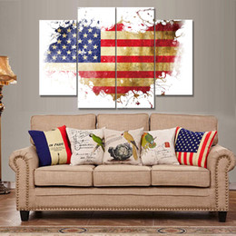 Wholesale American Flag Art - Art American Flag Frameless Paintings 4pcs (No Frame) Printd on Canvas Home Wall Art HD Print Painting