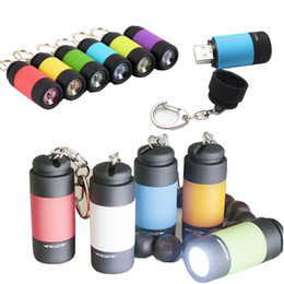 Wholesale Flashlight Torch Small - usb Rechargeable Mini led flashlight with charger Mini led torch Pocket Charger Lamp Keychain Lights small size free shipping