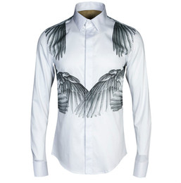 e22e00d6630 Men Wing Print Luxury Casual Dress Cotton Shirts Single Breasted Black  White High-end Mens Clothing Plus Size