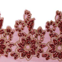 Wholesale Wedding Lace Motifs - 5yards Red Sequin Floral Lace Embroidery Trim Lace Fabric Applique Lace Motif Wedding Dress Decorated Sewing Accessories T2276