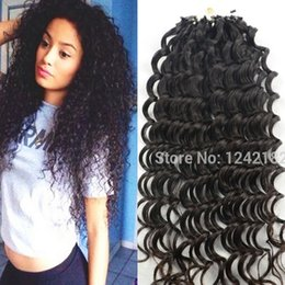 Wholesale Hair Extensions 1g Strand - JUFA Micro Ring Human Hair Extension Remy Micro Loop Human Hair Extensions Brazilian Deep Curly Virgin Hair Natural Black 8-30inch 1g 1g