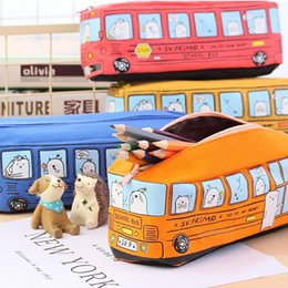 Wholesale School Supply Wholesales - Creative Bus School Pencil Case Pen Bag Stationery Student Coin Purse Comestic Bag School Supplies Kids Children Birthday DHL Free Shipping