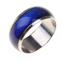 Wholesale feel temperature - Stainless Ring Changing Color Mood Rings Feeling   Emotion Temperature Ring Wide 6mm Smart Jewelry Factory direct sale CBRL