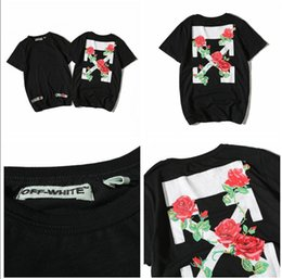 Wholesale Rose Tee Shirt - Mens OFF WHITE T Shirt 2017 new High Quality 100% Cotton Rose Printed Black OFF WHITE T Shirts Fashion Casual Plus Size TShirt Top Tee