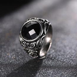 Wholesale Tanzanite Ring Settings - Rune Gemstone Ring Fashion Jewerly Accessories Black Blue Jewel Ring Men Women Personality Ring OZJ0004