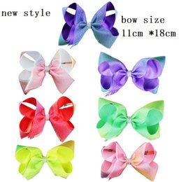 Wholesale Double Bow Clips - Girl bow-knot head flower 2017 new double-layer bow ribbed mesh hair clips Christmas ball sequins diamond children hair ornaments L205