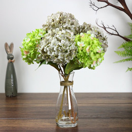 Wholesale Lighted Centerpieces - Wholesale-Artificial Hydrangea Flower Fake Silk Single Hydrangeas multi Colors for Wedding Centerpieces Home Party Decorative Flowers A0741