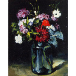 Wholesale Modern Canvas Art Flower Painting - Handmade oil painting Paul Cezanne Flowers in a Vase modern art Landscapes for bedroom decor