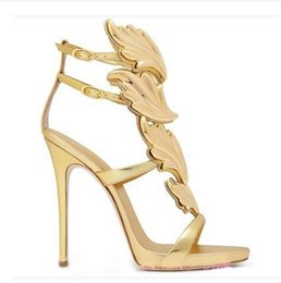 Wholesale Sexy Golden High Heels - 2017 Summer Arrival Fashion Luxury original Brand Genuine Leather Women's Lady Nightclub sexy High heel golden leaves Sandals Plus Size