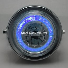 Wholesale Honda Fit Chrome - Chrome Motorcycle LED Hi and Lo Bean Halo Ring Headlight Head lamp fits for Harley Bobber Chopper Cafe Racer