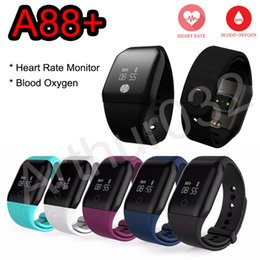 Wholesale android remote car - A88+ Blood Oxygen Monitor Smartband Heart Rate Smart Bracelet Sport Band Fitness Tracker Pedometer BT4.0 Car Wristband For IOS Android Phone