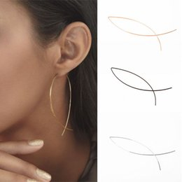 Wholesale earring fish - 1 Pair Punk Simple Long Wire Fish Stud Earrings Curved Line Alloy Brinco Earrings Of Women Jewelry