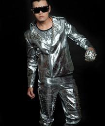 Wholesale Korean Men Outfits - Men's silver rivet motorcycle leather nightclub singer Korean jacket costumes male singer dancer show DJ outerwear coat outfit