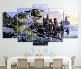 Wholesale bass pieces - Canvas Paintings Printed 5 Pieces largemouth bass fishing Wall Art Canvas Pictures For Living Room Bedroom Home Decor