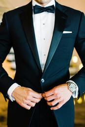 Wholesale Black Pinstripe Dress - Custom made New Style blue Notch Lapel Groom Tuxedos Men's Suit Groomsmen prom dresses Mens Wedding Suits blazer(Jacket+Pants)