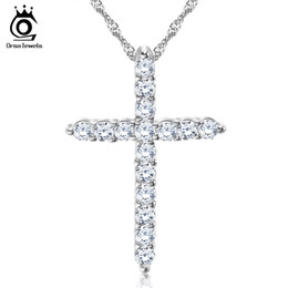 Wholesale Jewelry 925 Sterling Necklace Cross - Silver Cross Pendant Necklace,925 Sterling Silver with 3 Layer Platinum Plated,Allergy Free Trendy Jewelry ON56
