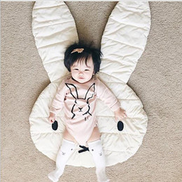 Wholesale Large Round Rugs - Soft Baby Padded Play Game Mats Rabbit Crawling Blanket Floor Carpet Kids Room Hot Children Round Rugs Creeping Mat Large 106*68CM