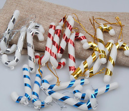 Wholesale Wholesalers Blank Media - Xmas Candy Cane Ornament Christmas Tree Pendant Drop Ornaments Decorations Mini Stripe Cane stick Craft Blank Decor gold silver red