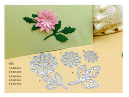 Wholesale Flower Leafs - 2017 new design 5pc flower and leaf metal cutting dies stencil for Scrapbooking invitation Card decorative steel templete
