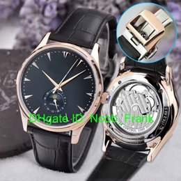Wholesale Mens Watch Thin - Super Clone Brand Luxury Master Ultra Thin Moon 1368420 White Dial Q1368420 Moon Phase Automatic Mens Watch Leather Strap Gents Watches