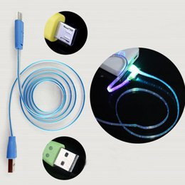Wholesale I5 Phone Charger - Lighting USB Cables 1M Micro USB Date Cable for Samusng HTC i5 i6 i7 Mobile Phone LED Luminous Smile Face charger cable DHL CAB218