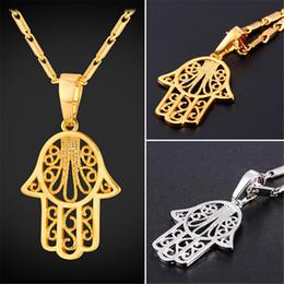 Wholesale Necklace Fatima Hamsa - U7 New Hamsa Hand Pendants Necklaces Gold Platinum Plated Arabic Hand of Fatima Lucky Gift Crystal Jewelry Necklace P2491