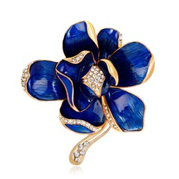 mexican long dresses Coupons - Colorful Flower Brooches For Women Long Dress Decorations Enamel Petal Rhinestone Golden Brooch Broche de Flor Para as Mulheres