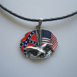 Wholesale Flag Necklaces - New Vintage Eagle With Rebel Confederate Flag Cross Star Metal Charm Pendant Leather Necklace NECKLACE-WT080 Brand New Free Shipping