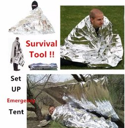 Wholesale Blanket Tent - Camping Portable Emergency Blanket First Aid Survival Rescue Curtain Tent Tools Outdoor Hiking 50g Kits Silver Golden