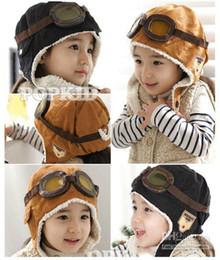 Wholesale Black Pilot Cap - Wholesale retail children hats boys flight caps kids winter hats earflap Cap Beanie Pilot C126 NEW 1