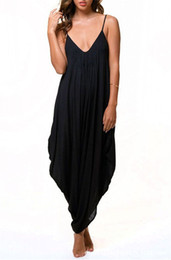 Wholesale Low V Neck Jumpsuits - Plus Size Hot Selling Solid Black White Low bosom v-neck sexy strap jumpsuits Loose jumpsuits Beach leisure loose jumpsuits