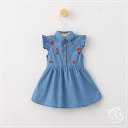 Wholesale Knee Length Sleeveless Denim Dress - 2017 NEW ARRIVAL Korean style summer girl Lapel sleeveless Flower Embroidered Denim Dress 3-8T