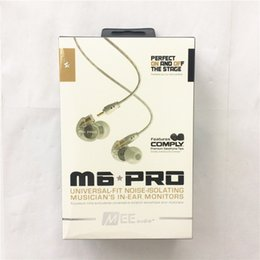 Wholesale cable wire box - MEE Audio M6 PRO Noise Canceling 3.5mm HiFi In-Ear Monitors Earphones with Cables Sports Wired Headphones 2 Colors with retail box
