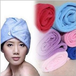 Wholesale Hair Dry Towel - Microfiber Magic Hair Dry Drying Turban Wrap Towel Hat Cap Quick Dry Dryer Bath make up towel YYA123