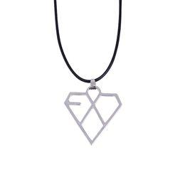 Wholesale Exo Kris - Wholesale-KPOP EXO Leather Cord Alloy Necklace Silver Plated Geometric Logo Pendant,Korean Popular star jewelry,CHAN YEOL SE HUN KRIS