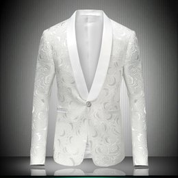 Wholesale Outerwear Wedding Dresses - Wholesale- (jacket+pant) suit male boy jacket white blazer outerwear wedding groom prom singer dress performance show nightclub slim star
