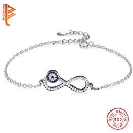 BELAWANG 925 Sterling Silver Chain Link Mujeres Pulsera de Cristal Creado Evil Eye Clock Infinity Charms Pulsera para Las Mujeres Joyería de La Boda desde fabricantes