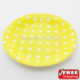 keramik kuchen tablett Rabatt Wholesale-60pcs 9 gelbe Pappteller-runder weißer Tupfen, Thema-Partei-Abendessen-Kuchen-Nachtisch-Servierteller-Geschirr-wählen Sie Ihre Farben