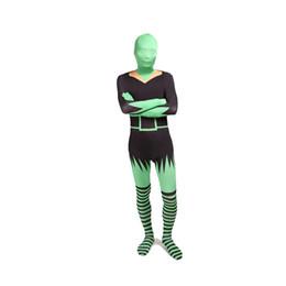 Macacão de corpo inteiro spandex preto on-line-Preto e Verde Sexy Mulheres Trajes Cosplay Dia Das Bruxas Lycra Spandex Zentai Catsuit de Corpo Inteiro