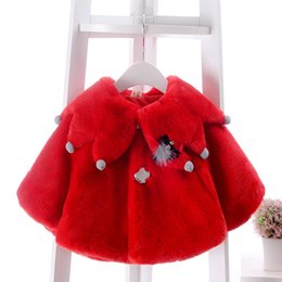 Wholesale Girls Capes Fur Collar - Baby shawl winter toddler kids faux fur poncho girls petals pompon collar fleece thicken princess cloaks christmas kids capes coat R0351