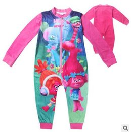 Wholesale Cartoon Body Suit - Baby Trolls Romper Clothing Body Suit Long Sleeve Kids Boys Girls Cartoon Rompers pajamas Clothes Roupa Infantil Christmas Gifts