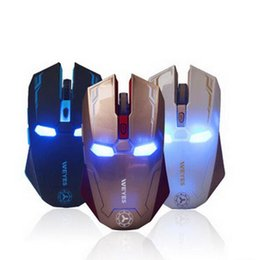 Wholesale New Gaming Mouse - New Iron Man Mouse Wireless Mouse Gaming Mouse gamer Mute Button Silent Click 1200 1600   2400DPI Adjustable computer mice