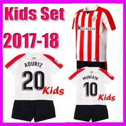 Wholesale Boys Athletic Shorts - Kids kits 2017 2018 Athletic Bilbao Soccer jersey 17 18 child youth Home red ADURIZ GURPEGUI MUNIAIN soccer jerseys football shirt