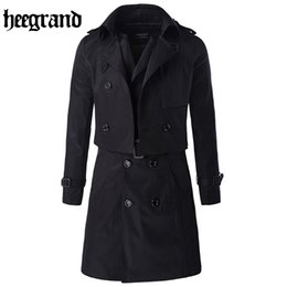 Wholesale Grand Double - Wholesale- HEE GRAND 2017 New Large Size Solid Casual Two-piece Trench Double Breasted Fashion Casual Coat MWF323