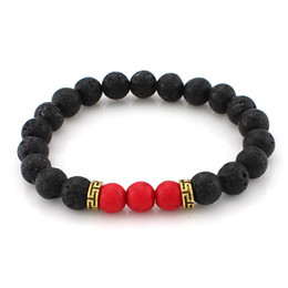 Wholesale Bracelet Anti Fatigue - New Lava-rock Stone Beaded Bracelet Imperial Stretch Bangle Men Women Anti-fatigue Aromatherapy Essential Oil Diffuser Energy Yoga Jewelry