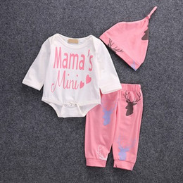 Wholesale Cute Childrens Clothes - childrens outfits Letter Long Sleeve Romper+Hats+Deer Long Pants Autumn Cotton Cartoon Baby Clothes Infant Clothing Sets 7470