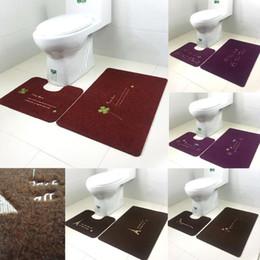 Wholesale Toilet Carpets - Wholesale-Originality Toilet U-shape Pad Absorbent Mats Bathroom Mat Bath Mat Carpet 2piece set
