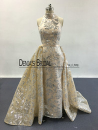 Wholesale Evening Gown Pageant - 2017 Blingbling Prom Dresses High Neck Silver Sequins Appliqued Nude Champagne Evening Gowns with Detachable Overskirt Real Pageant Dresses